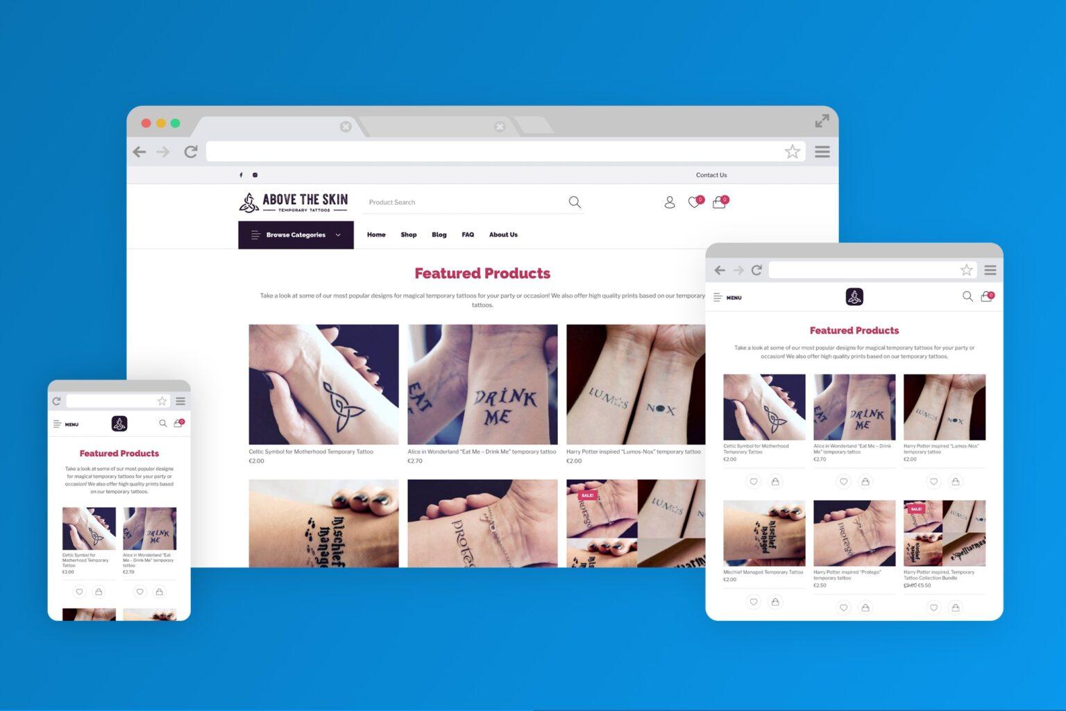 abovetheskintattoos.com website screenshot - codeheaven studios portfolio